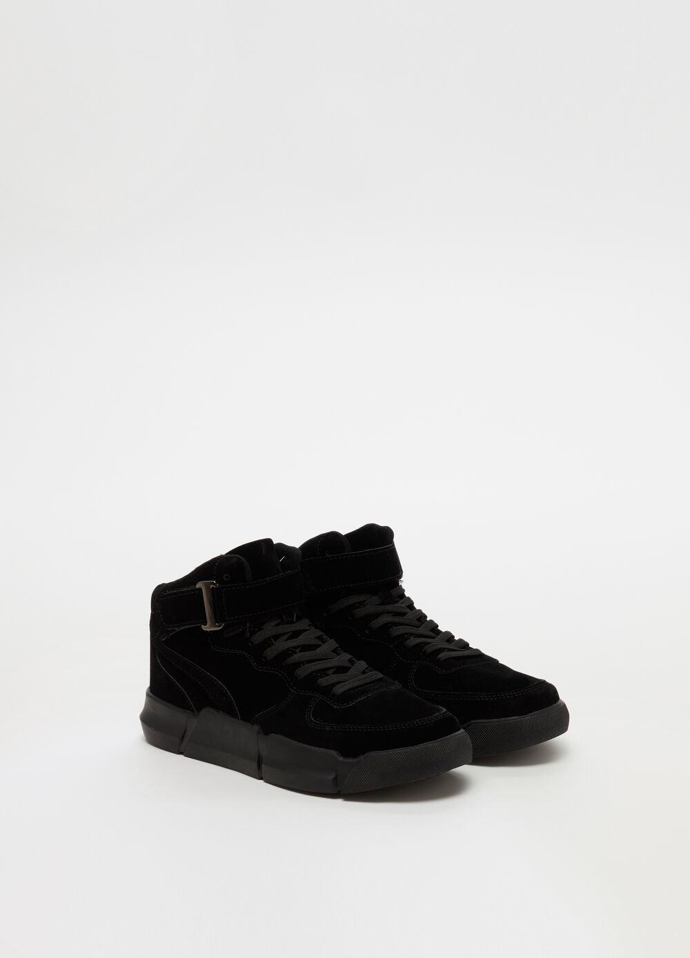 High-top velvet lace-up sneakers