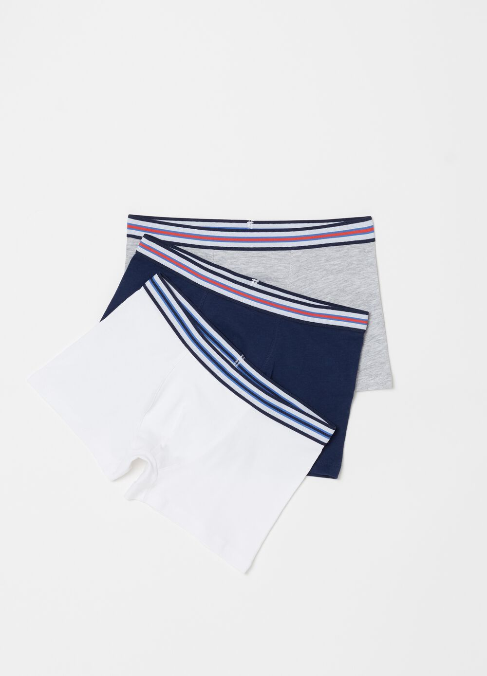 Three-pack biocotton boxers with striped ribbing