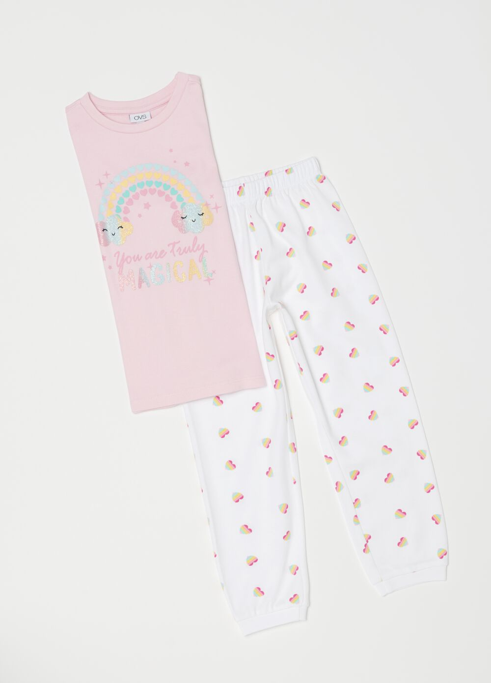 Pyjamas with glitter print and pattern
