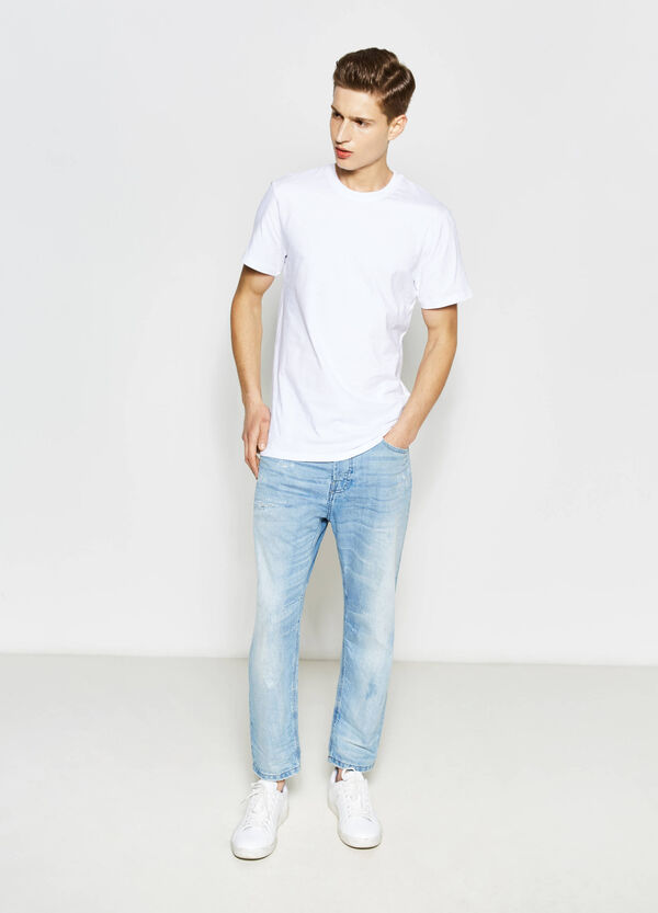 Worn-effect loose-fit, cropped jeans | OVS