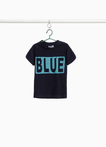 Cotton T-shirt with lettering print and stripes