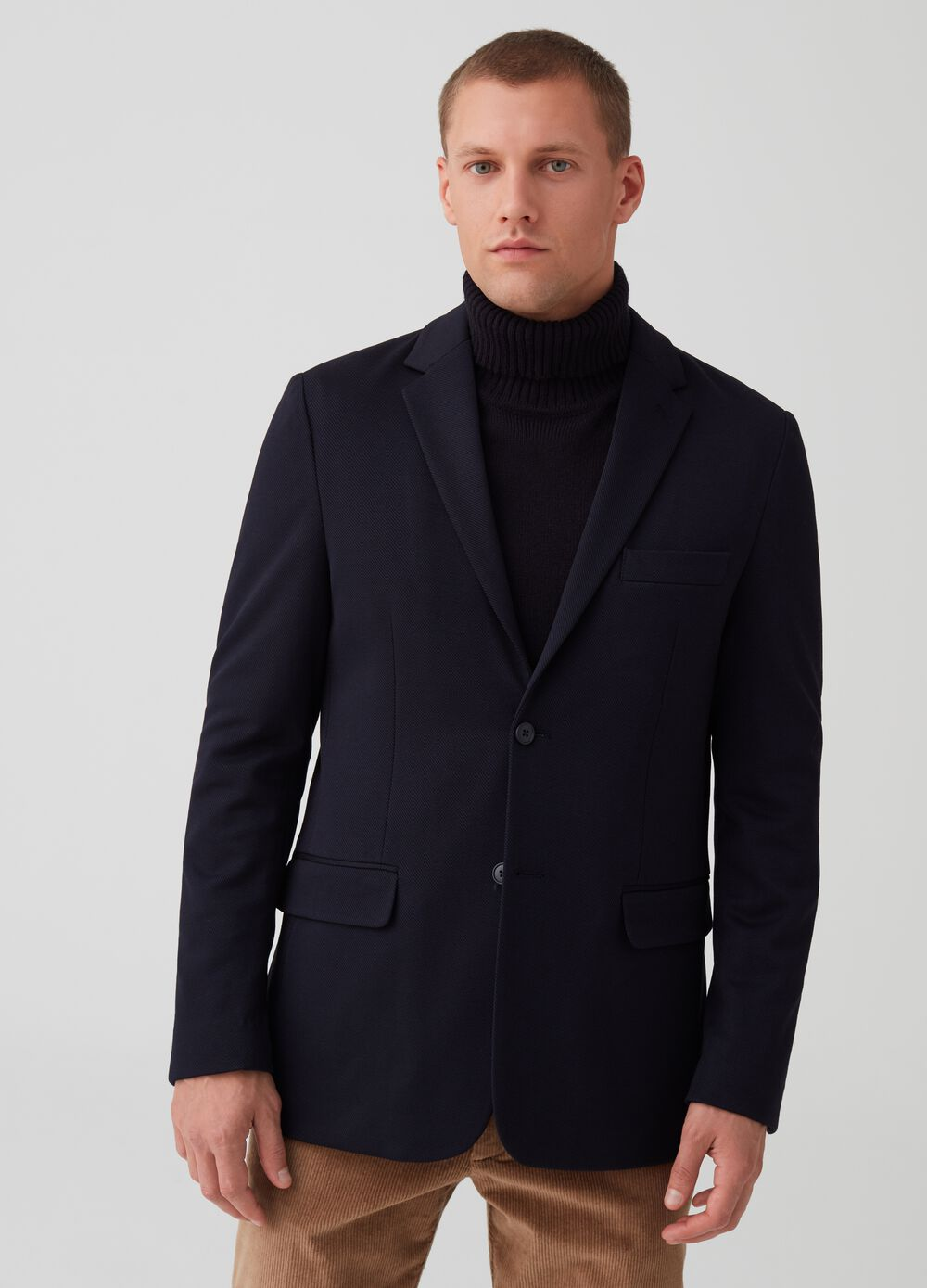 Knitted fabric blazer with two buttons