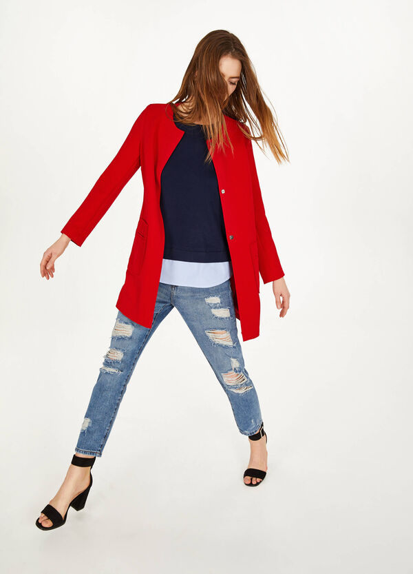 Stretch coat with pockets