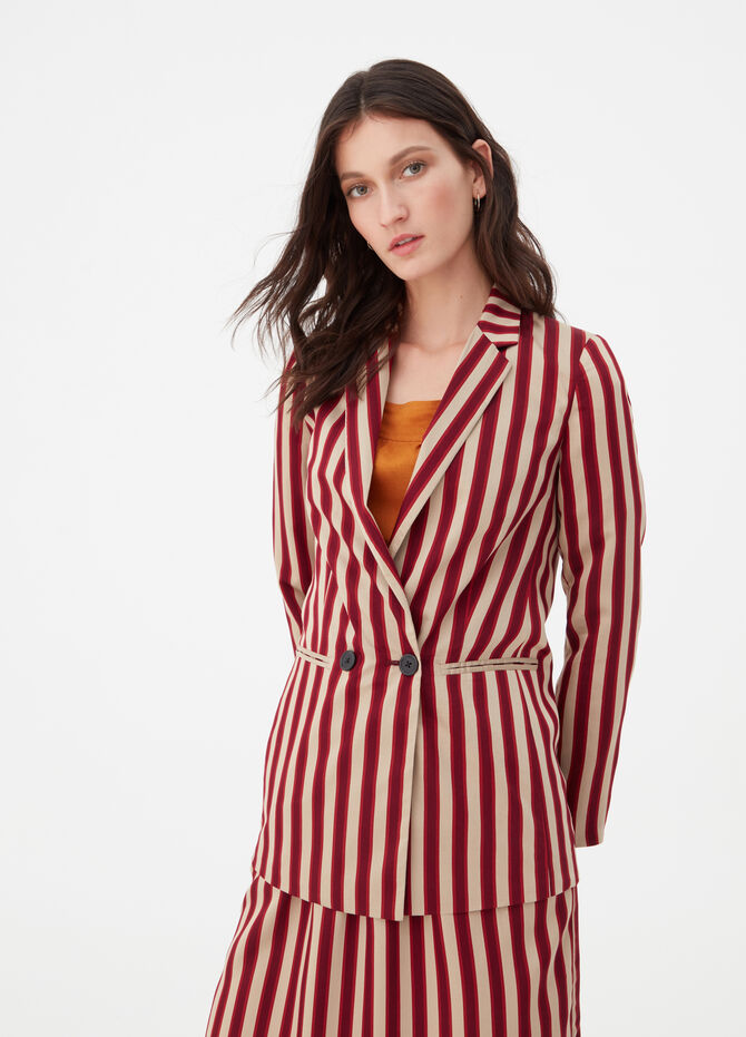 Blazer with welt pockets and striped pattern