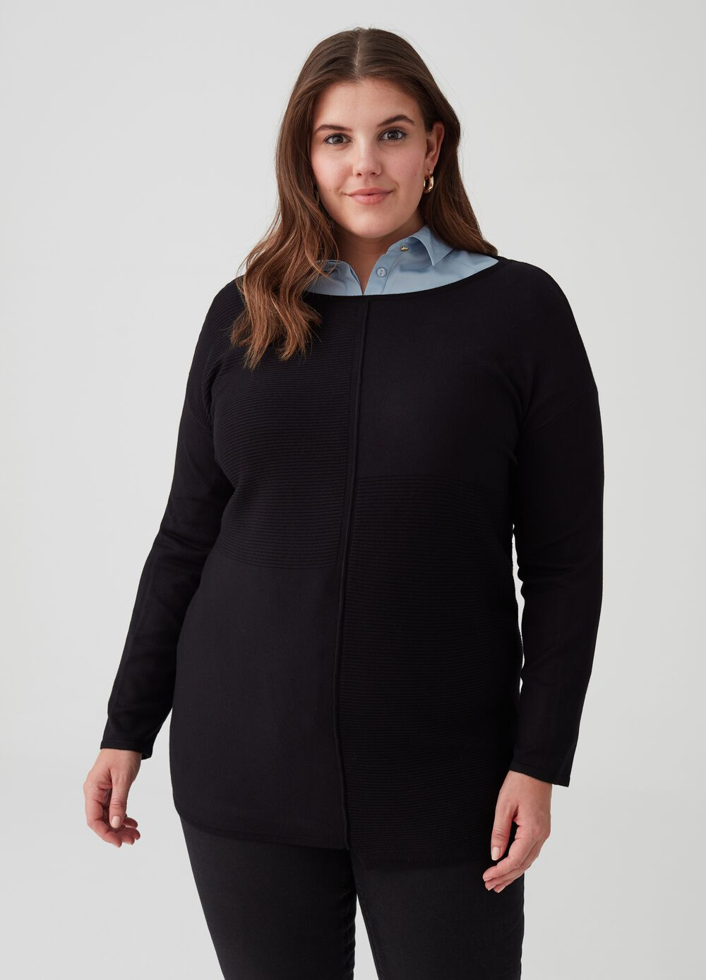 Curvy knitted stretch pullover