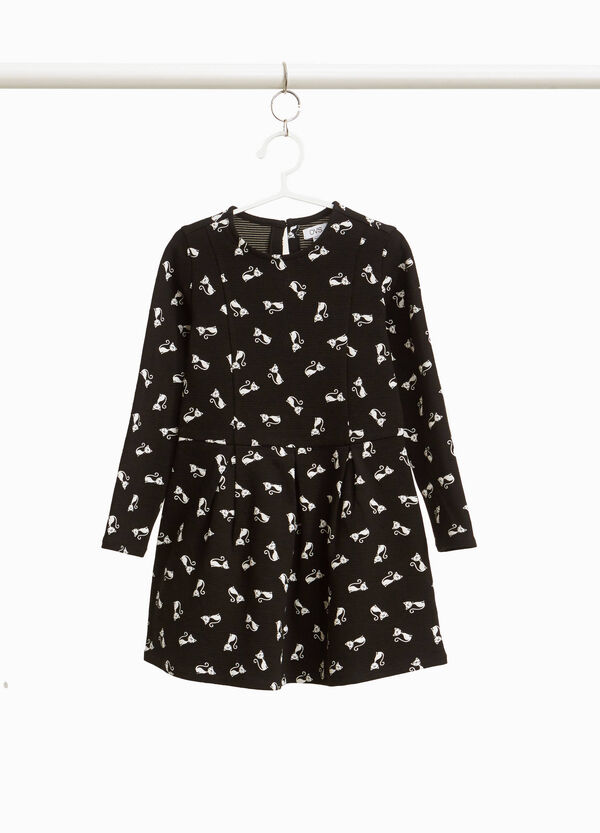 Dress in cotton blend with kitten print