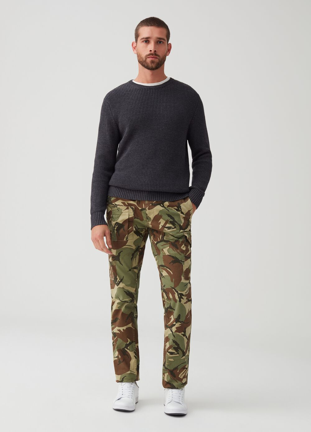 Camouflage patterned cargo trousers