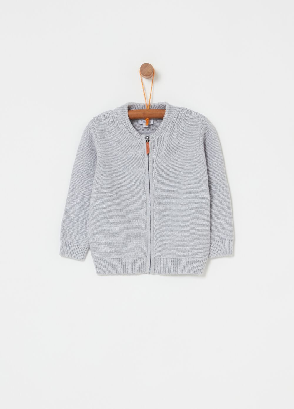 100% cotton knitted cardigan with zip