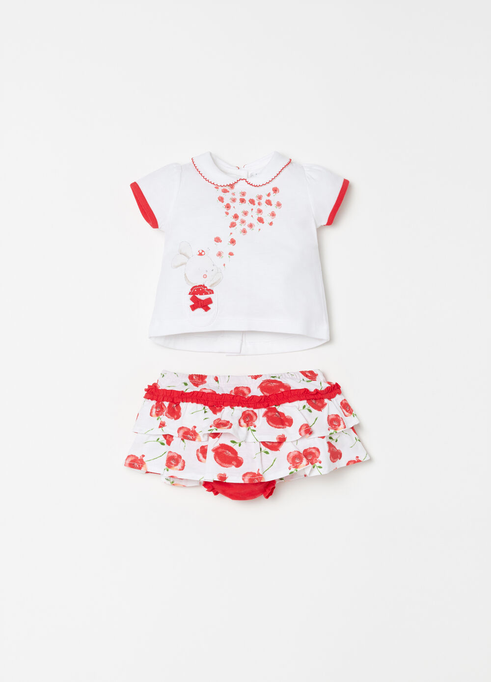 Printed T-shirt and skirt with floral flounces set