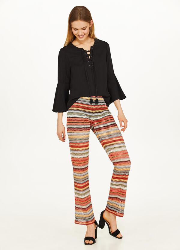 Trousers with lurex and jacquard design