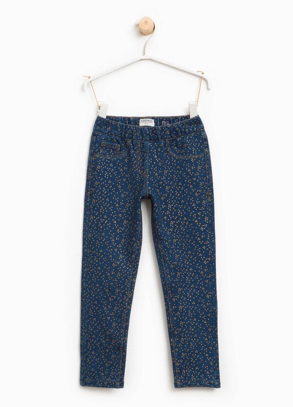 Stretch jeggings with glitter polka dots | OVS