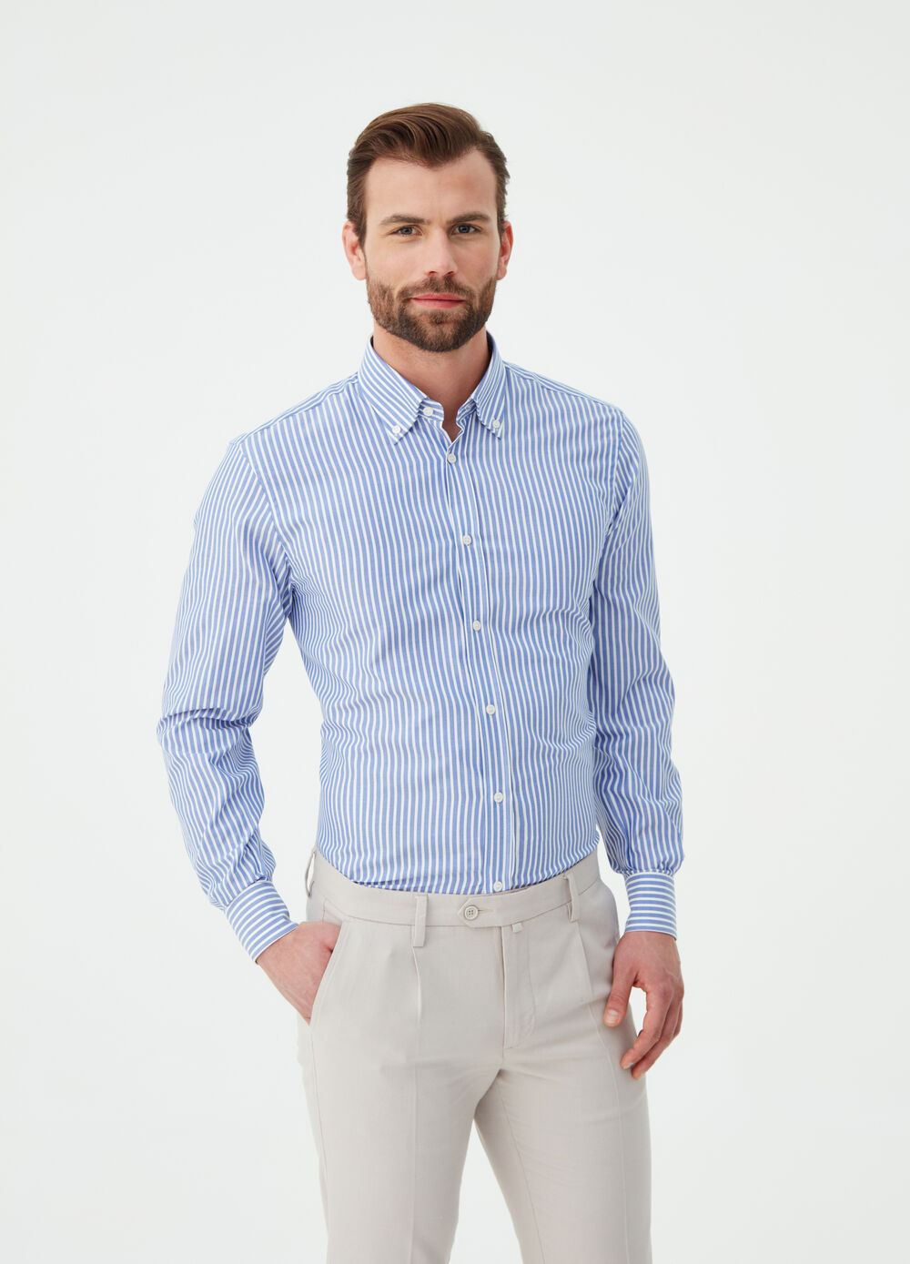 Camicia regular fit pin-point cotone