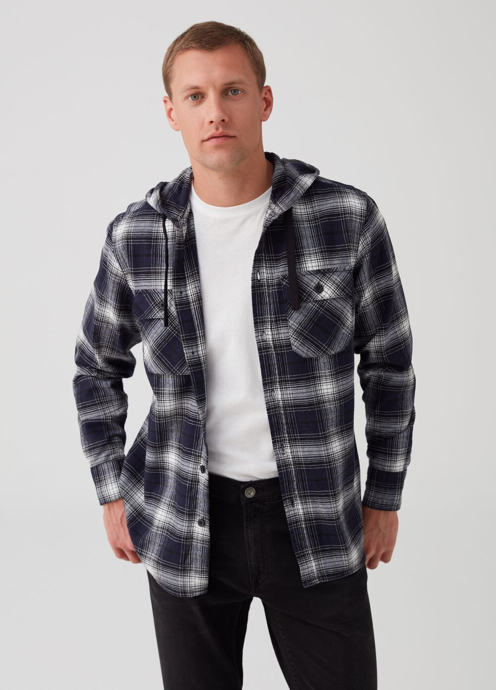Regular shirt with check hood