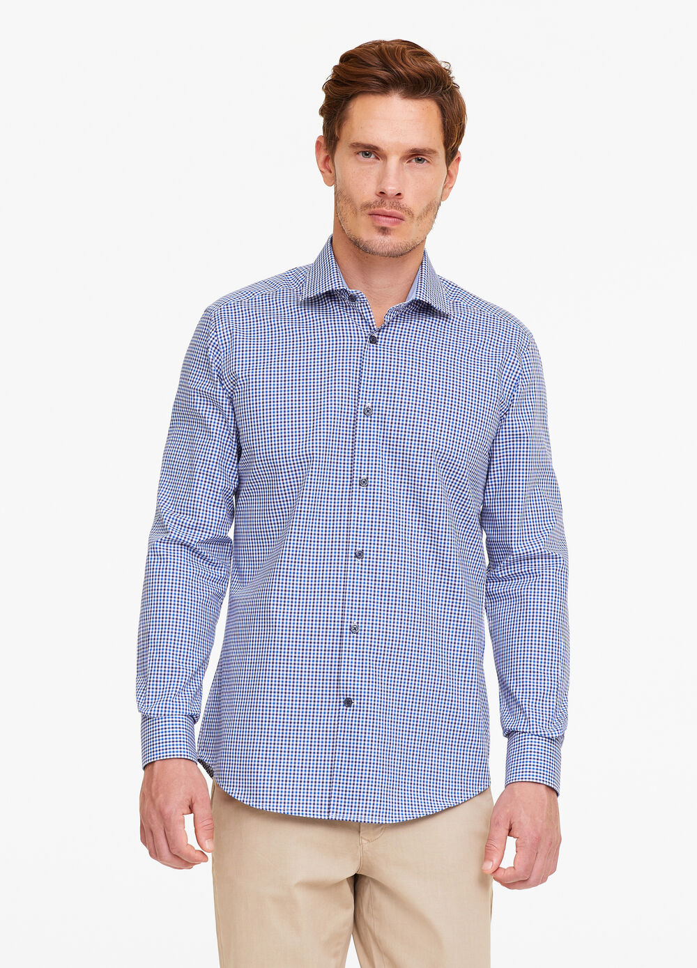 Slim-fit micro-check formal shirt