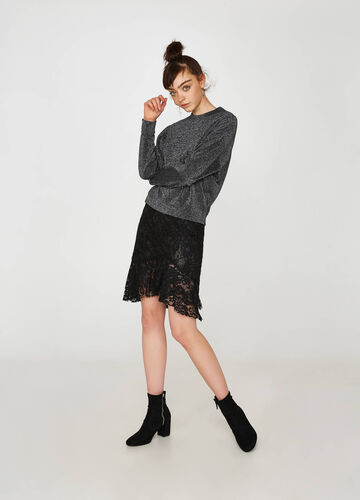 Stretch lace skirt with flounce