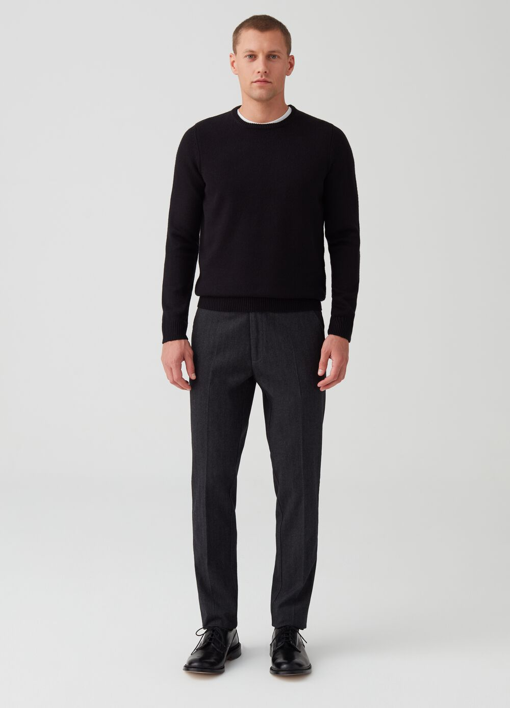 Trousers without darts in mélange herringbone fabric