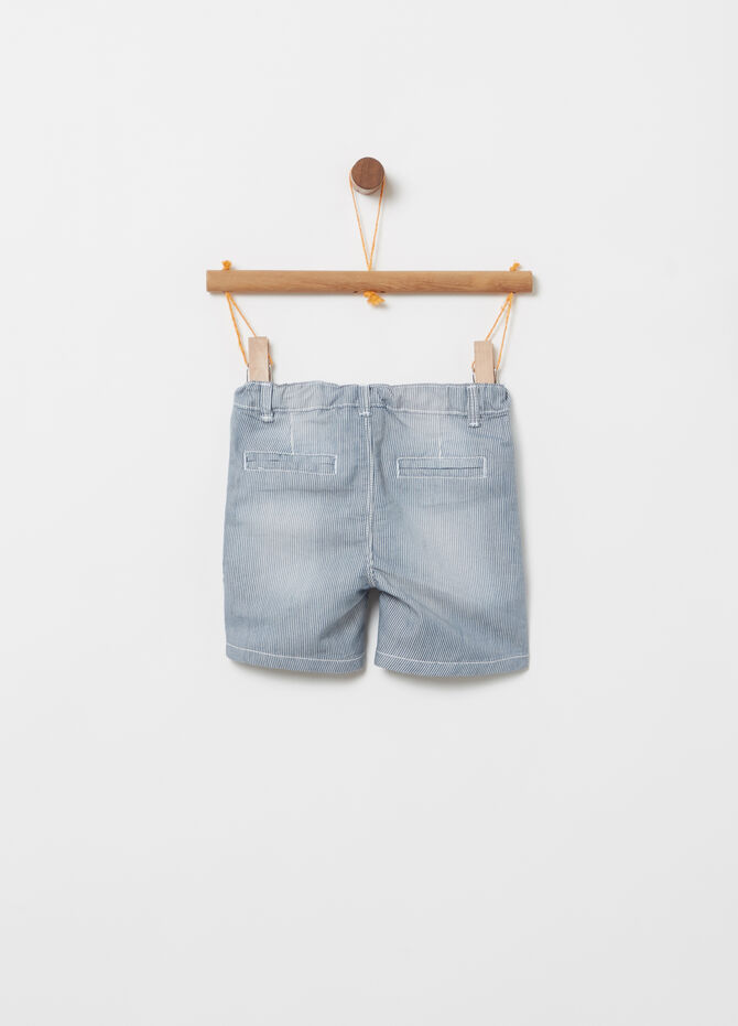 Stretch washed shorts with striped pockets