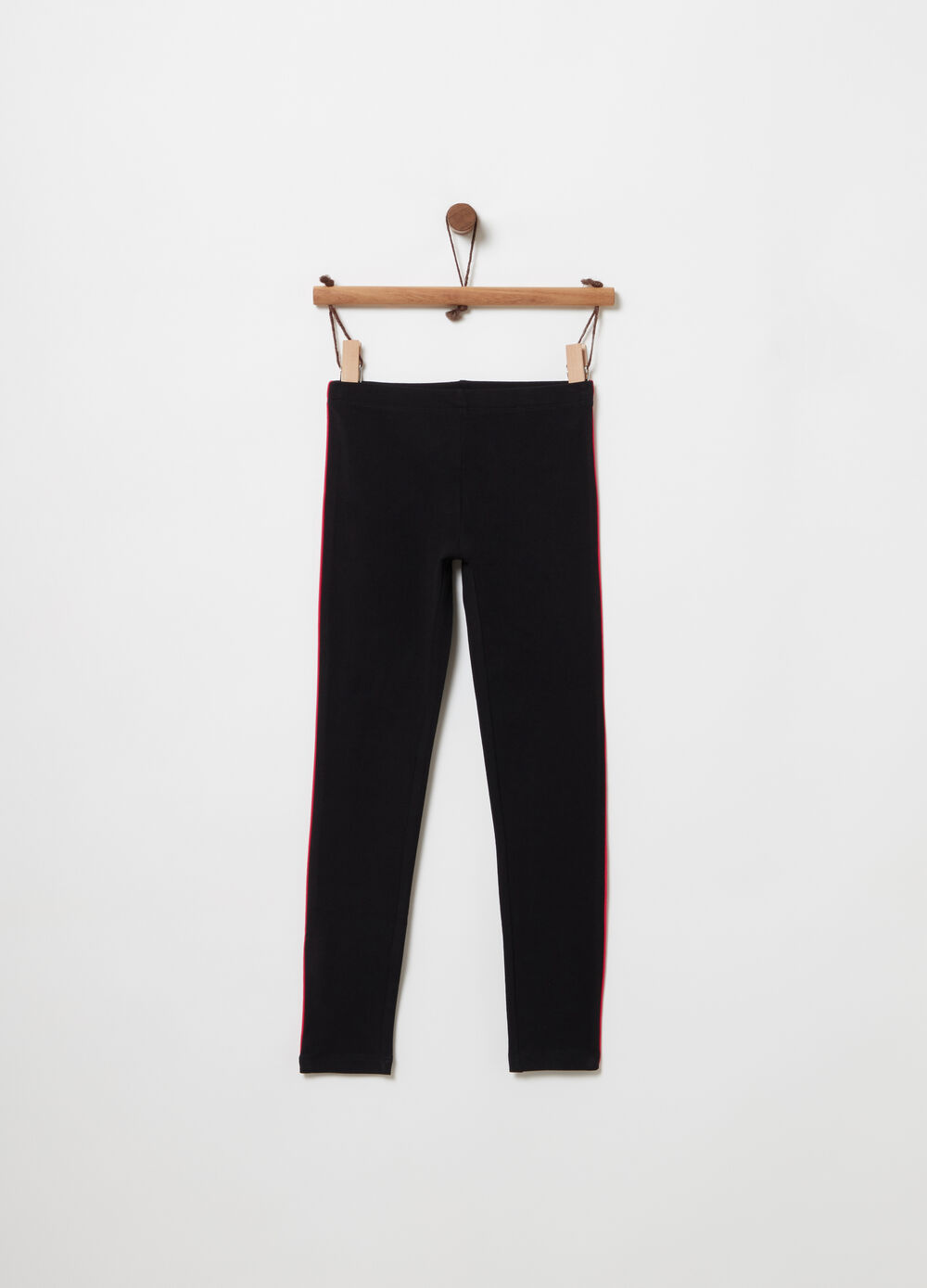 Stretch leggings with coloured insert