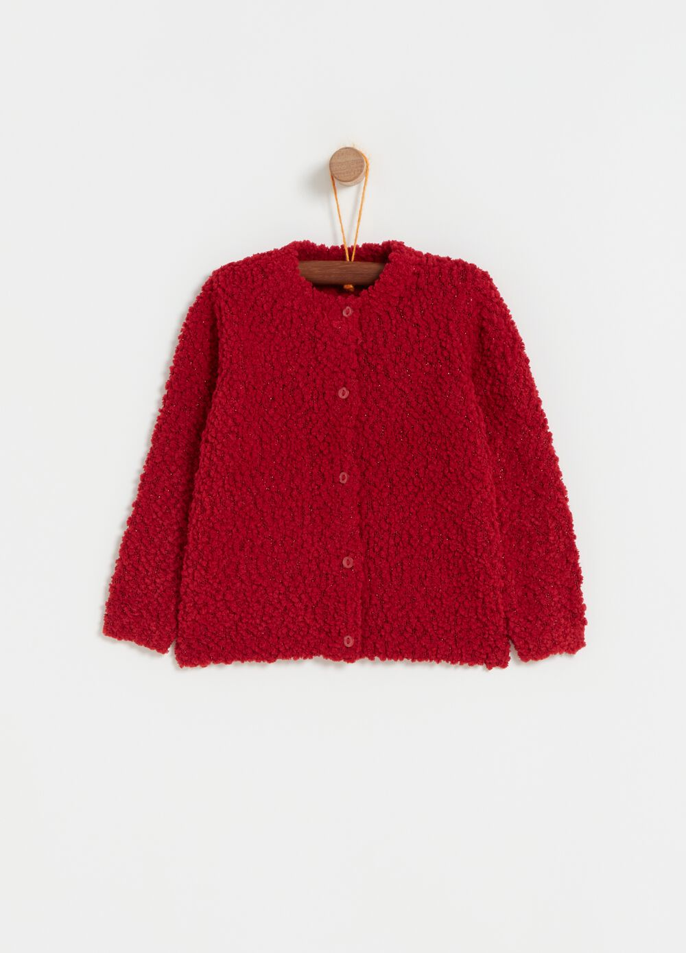 Bouclé-effect knitted cardigan with lurex
