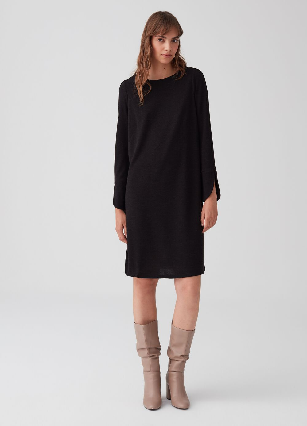 Tunic dress in stretch knit fabric