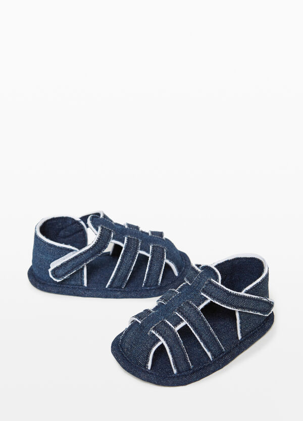 Denim sandals with rip