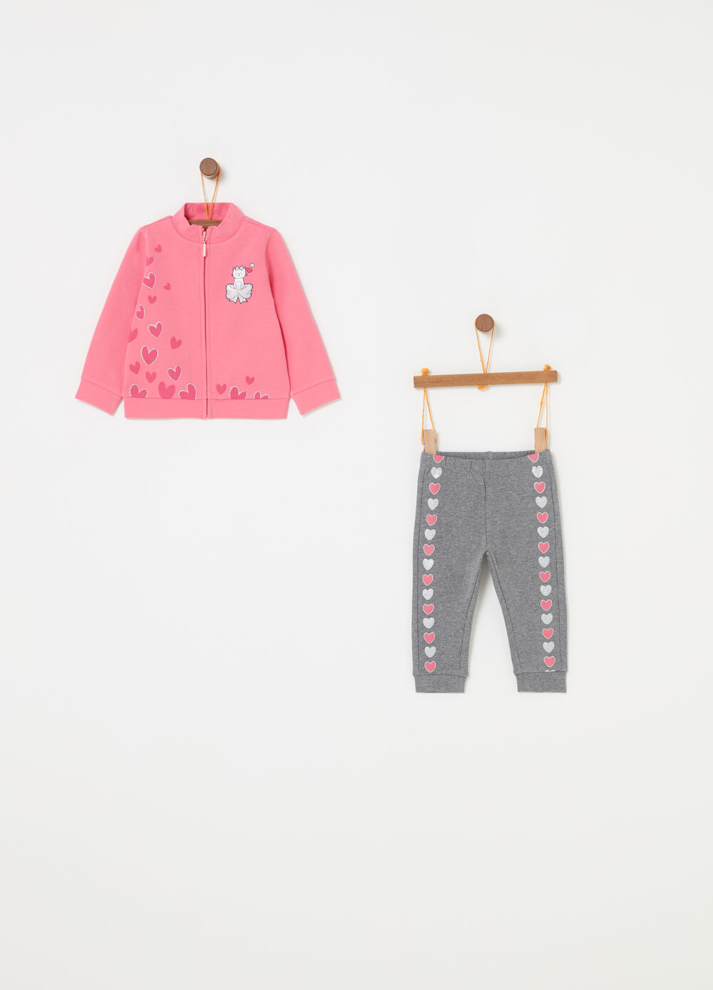 Stretch cotton jogging set with glitter print