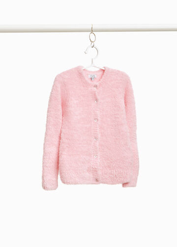 Knitted frayed cardigan