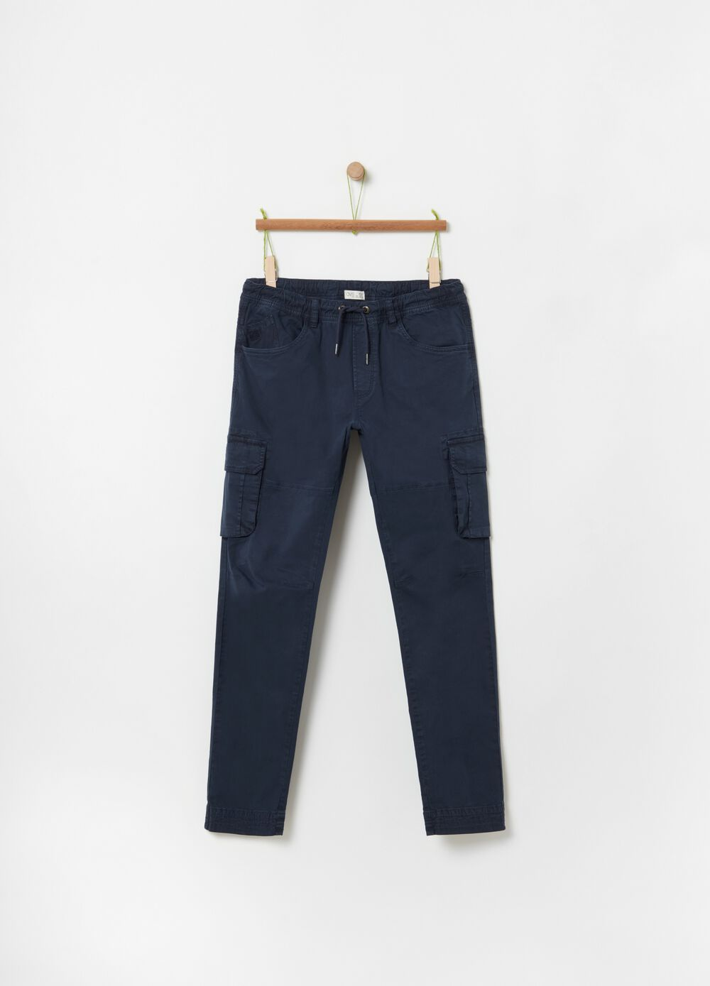 Stretch organic cotton cargo trousers