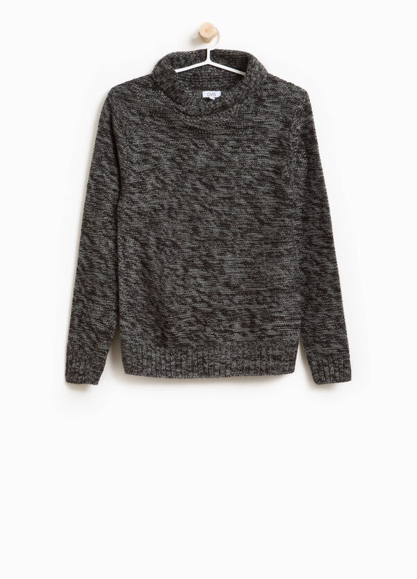 Two-tone knitted pullover with shawl collar | OVS
