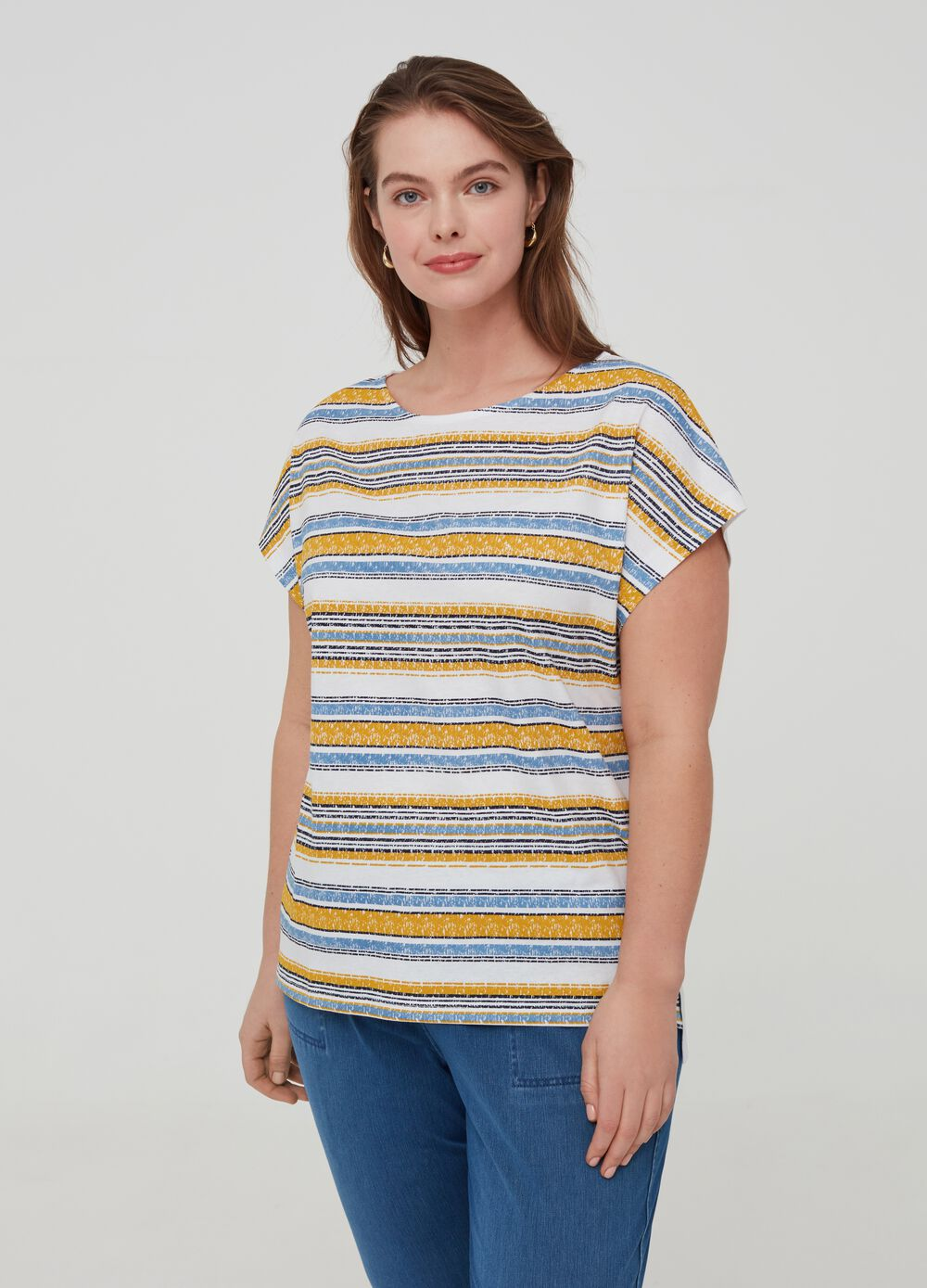 Curvy 100% organic cotton T-shirt with stripes