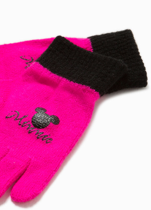 Knitted gloves with Minnie Mouse print