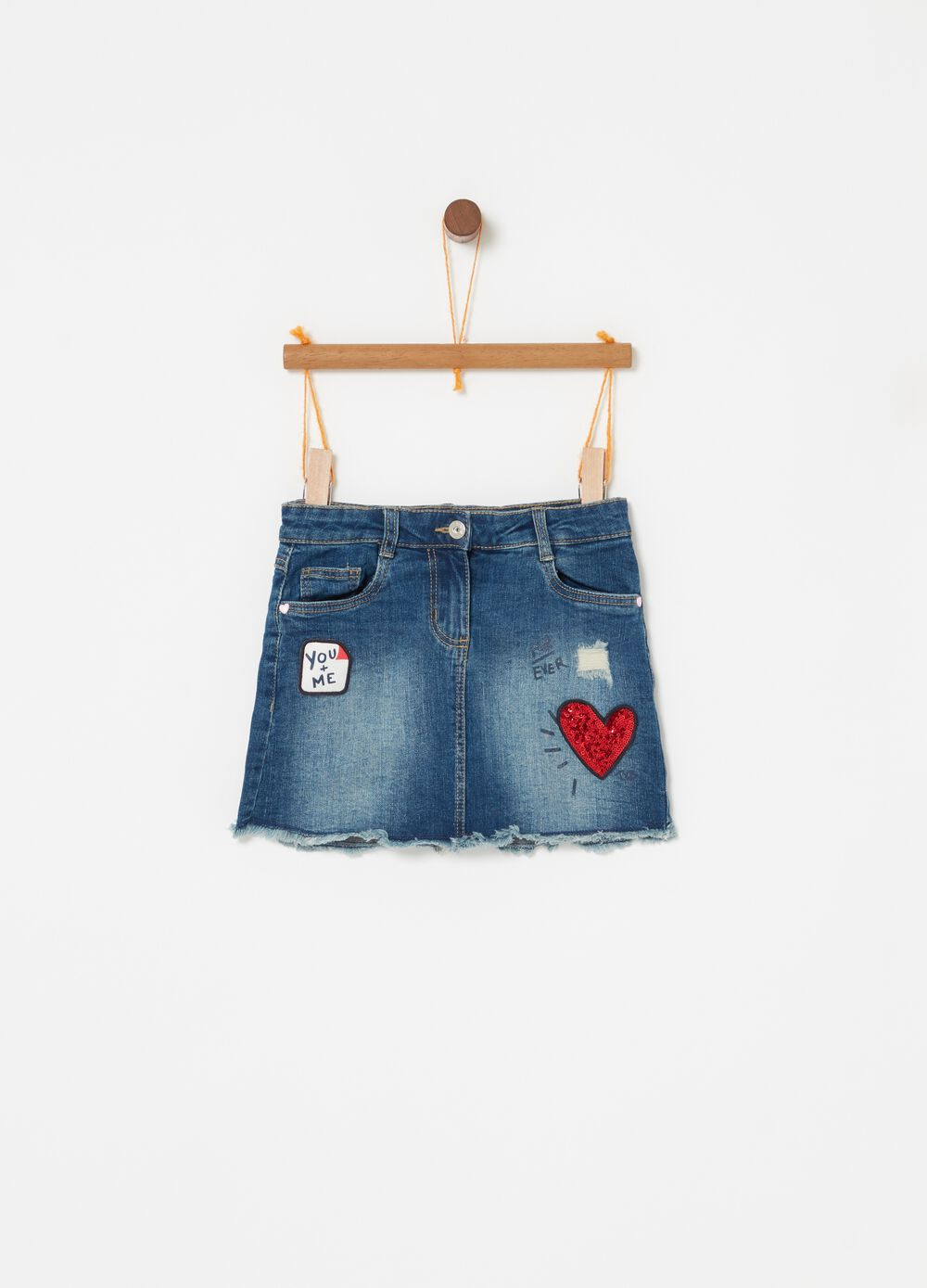 Stretch denim vintage-effect skirt