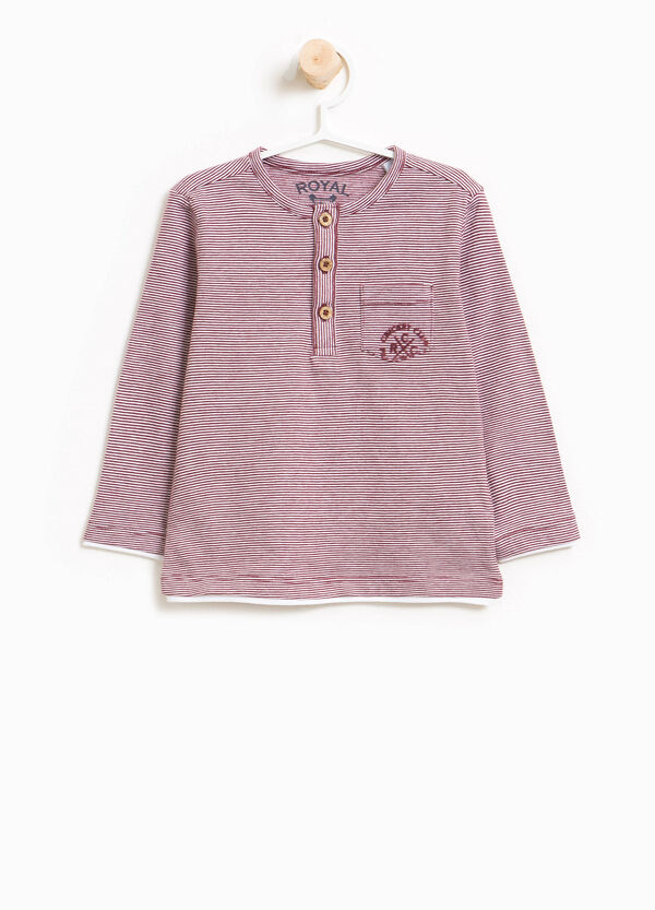 Striped 100% cotton T-shirt with pocket | OVS