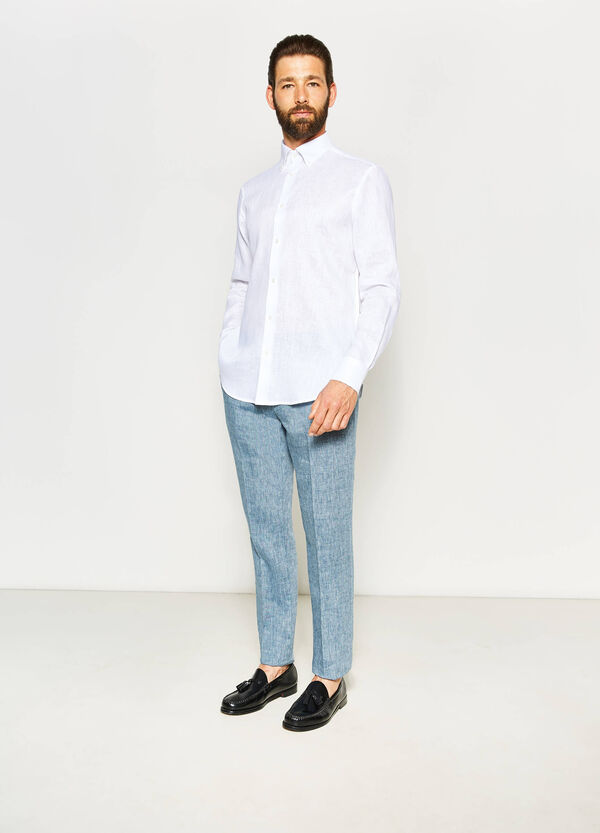 Regular-fit formal linen shirt