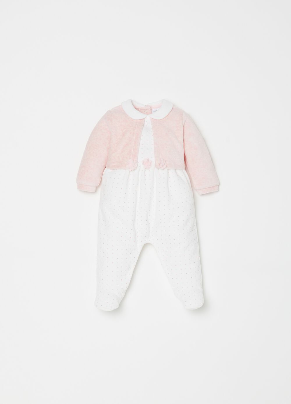 Micro dot patterned onesie with feet