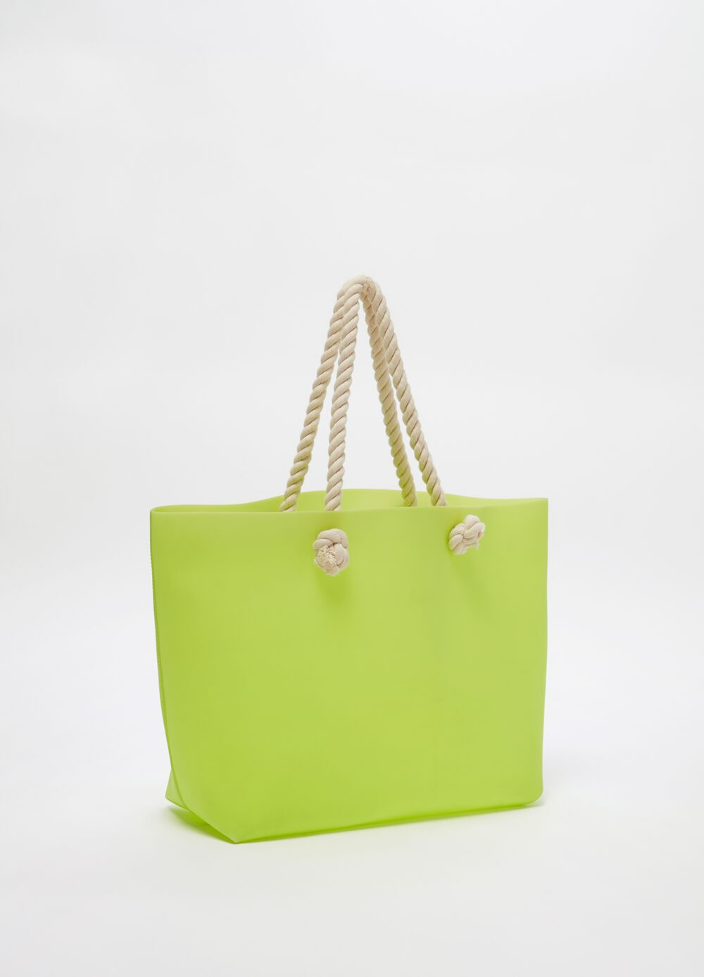 Beach bag with woven handles