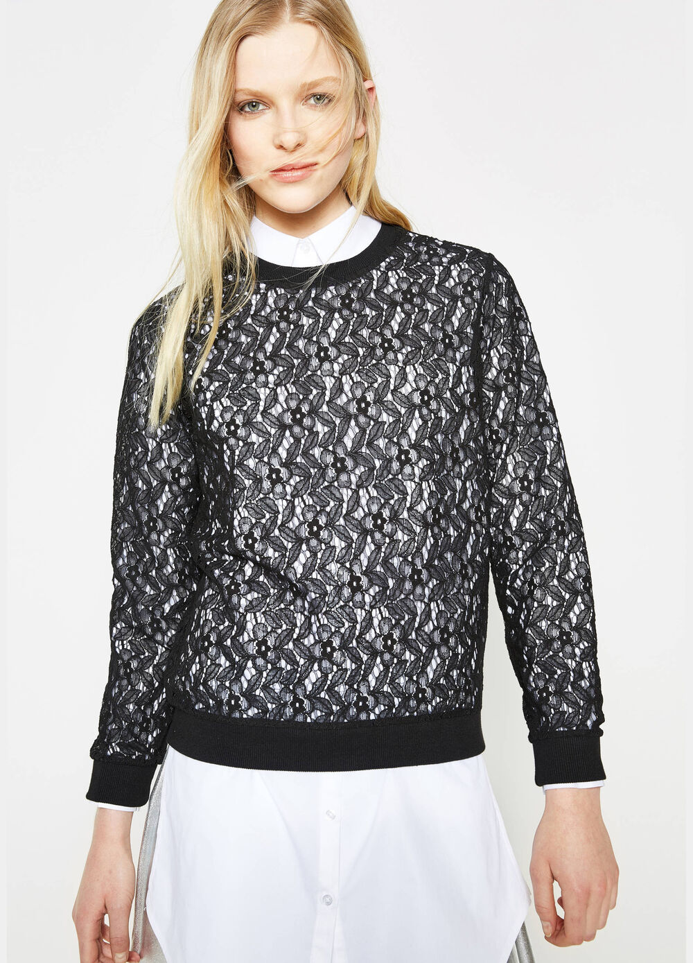 Crew-neck sweatshirt in semi-sheer lace