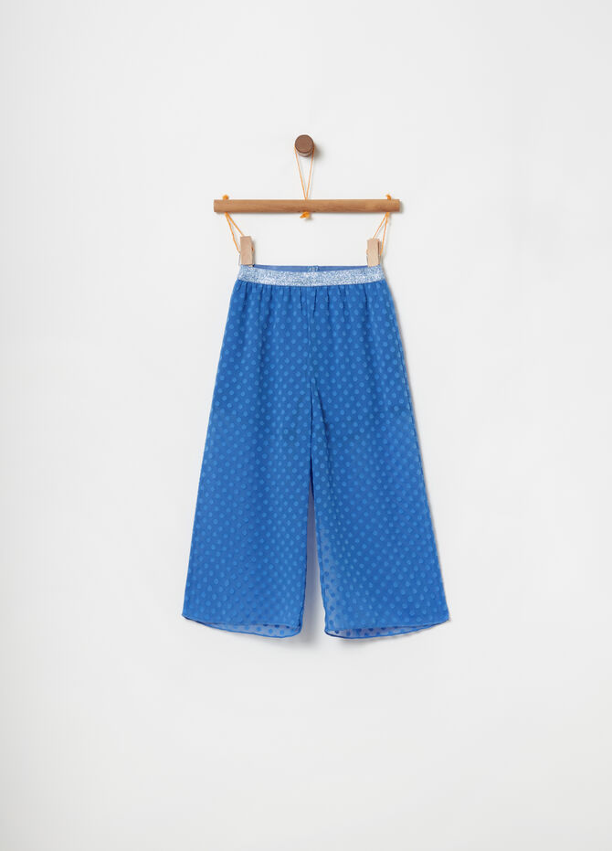 Cropped trousers with glitter and polka dot waist