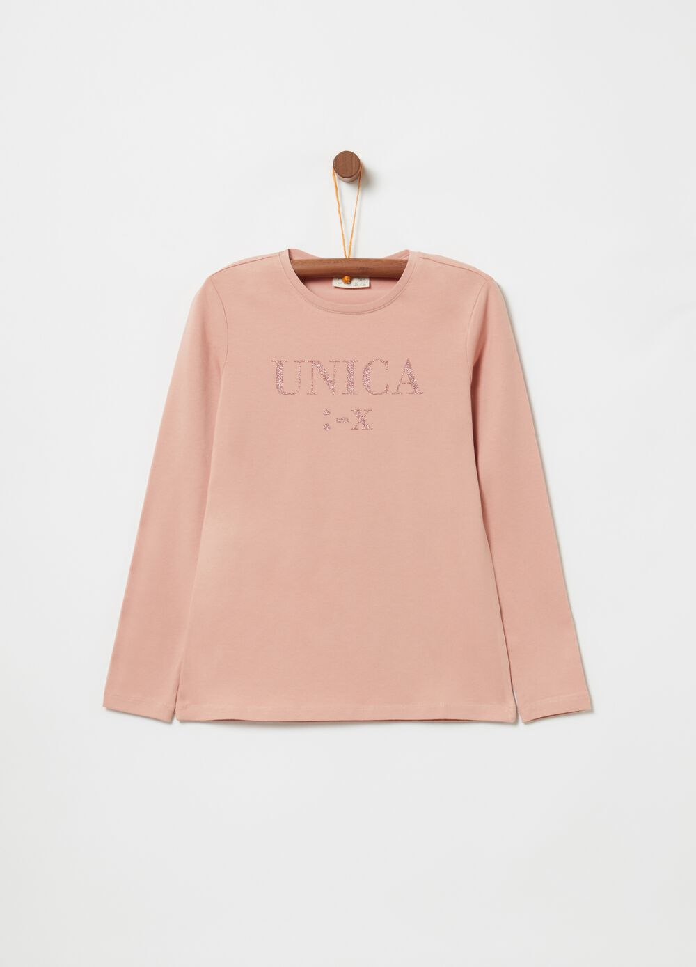 Long-sleeved T-shirt with glitter lettering