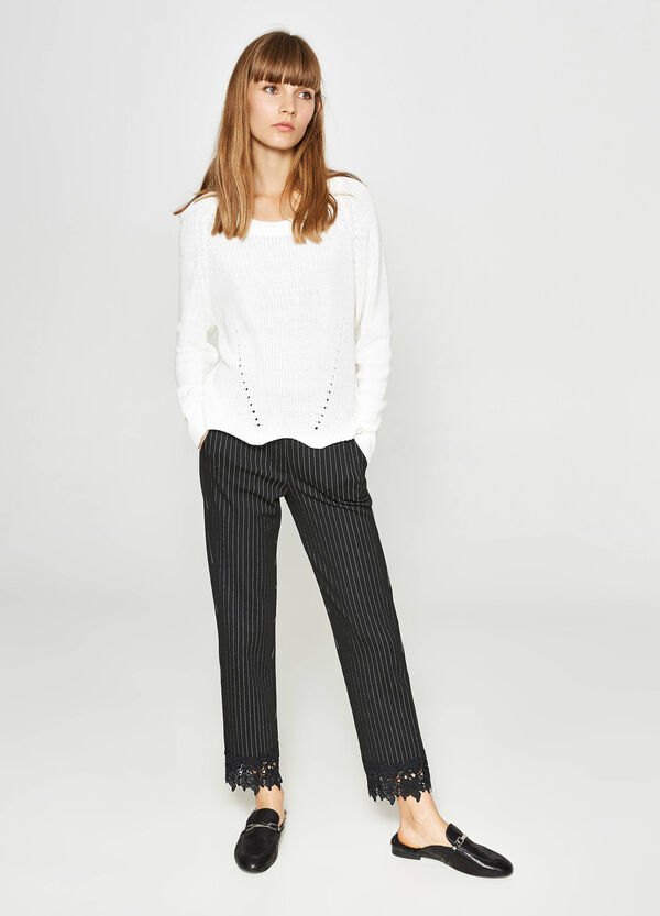 Striped stretch viscose trousers with lace