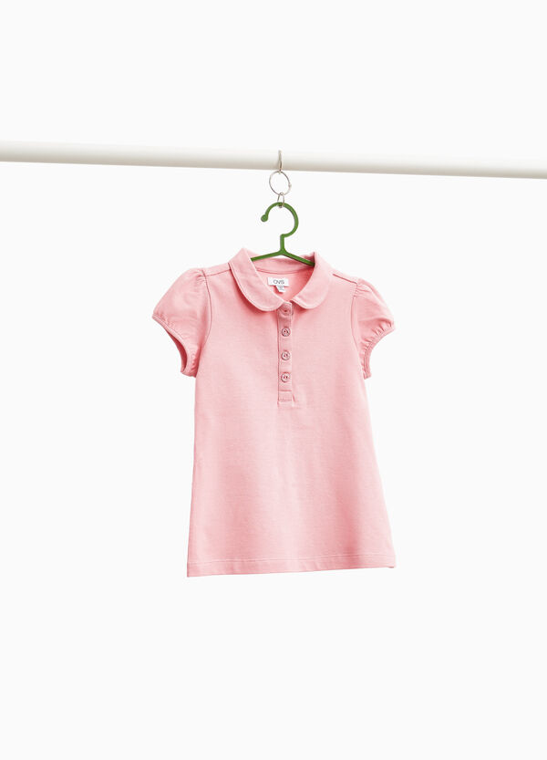 Solid colour stretch cotton polo shirt