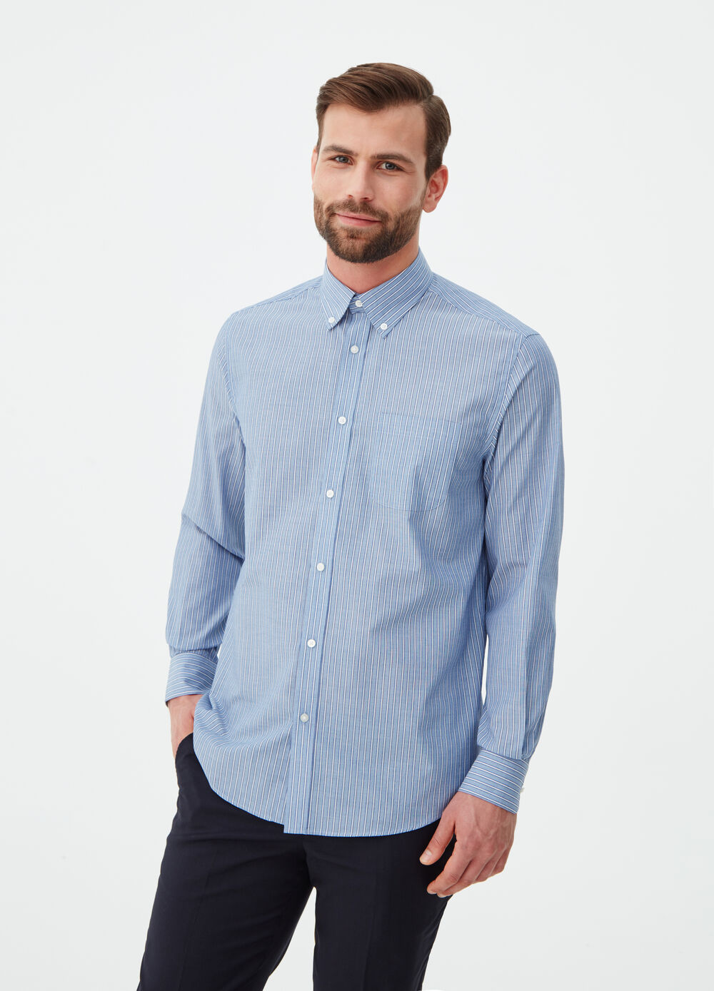 Regular-fit shirt with rounded striped cuffs
