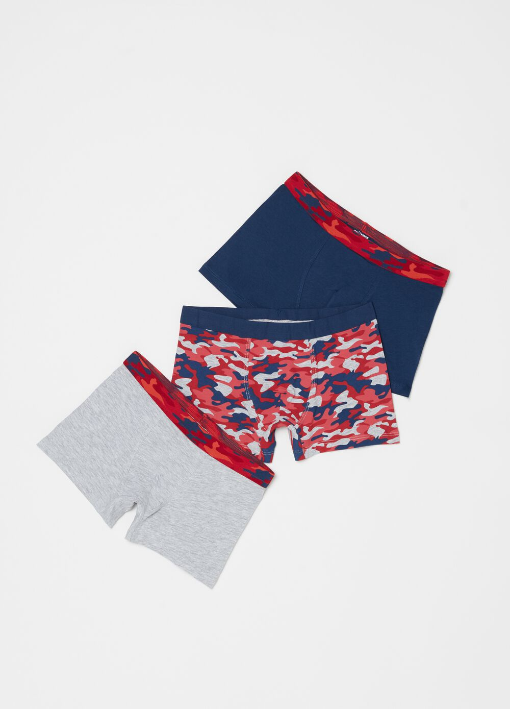 Three-pack organic cotton patterned boxer shorts