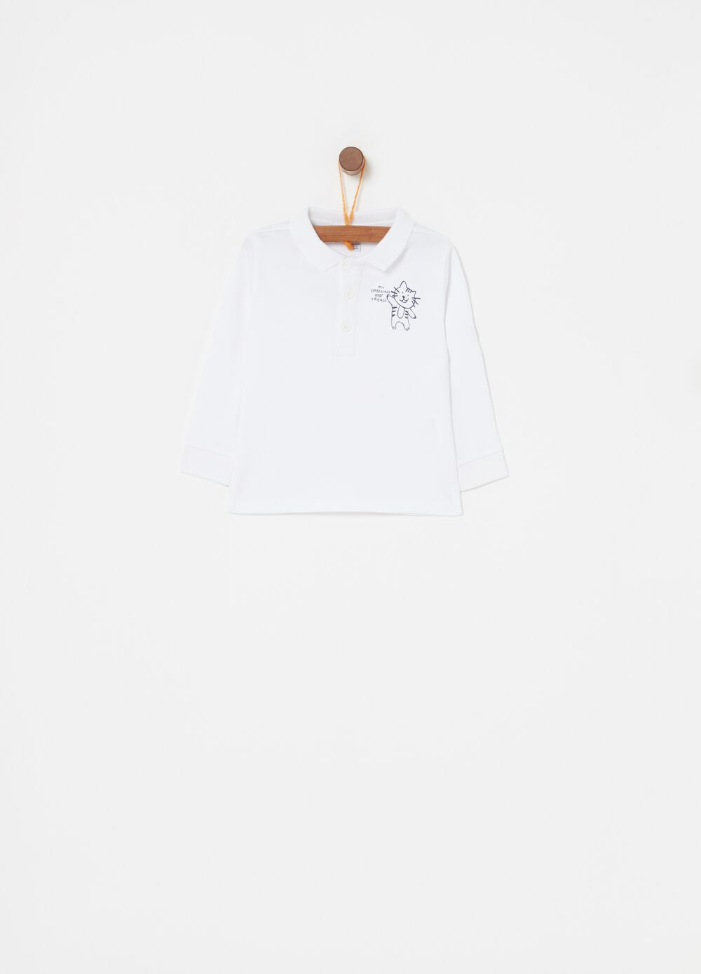 Polo shirt in warm cotton with kitten print