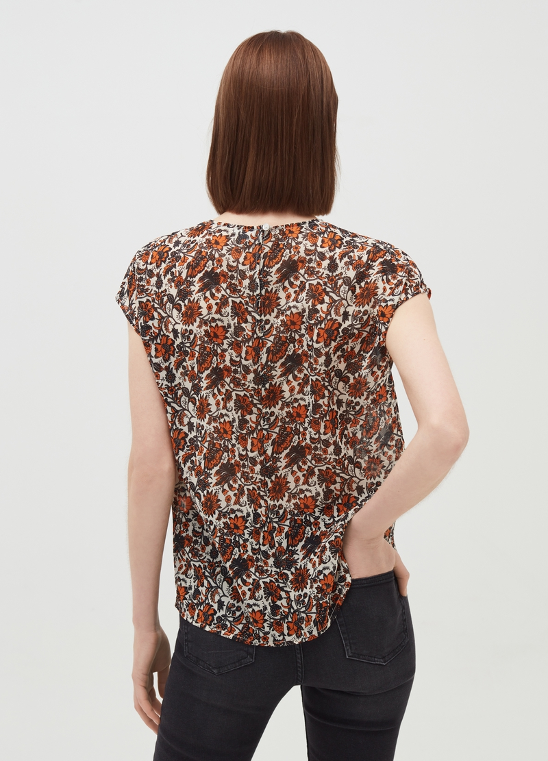 Patterned round neck blouse image number null