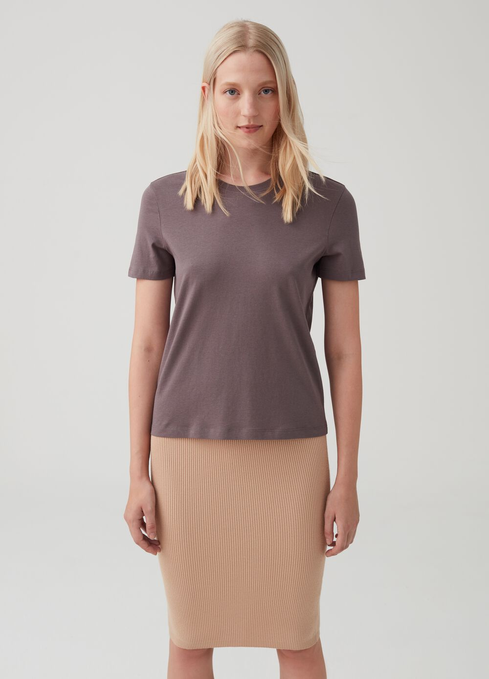 100% cotton T-shirt with cap sleeves