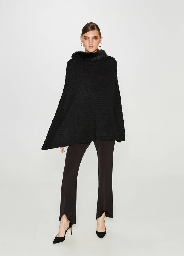 Ribbed poncho with fur | OVS