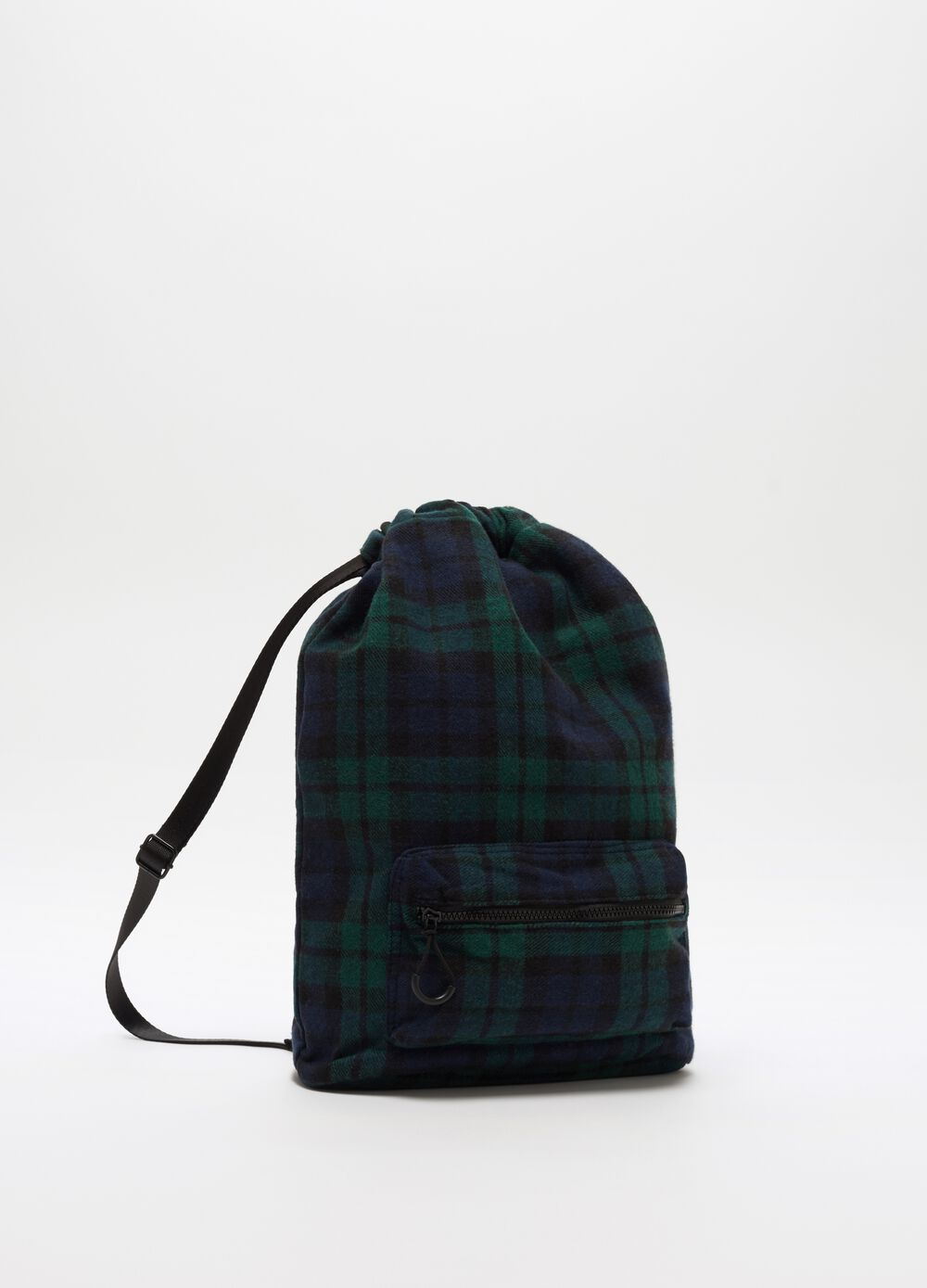 Backpack with pocket and check pattern
