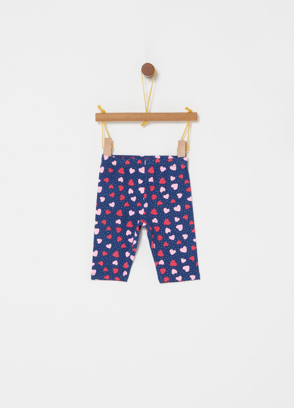 Short leggings with heart and polka dot pattern