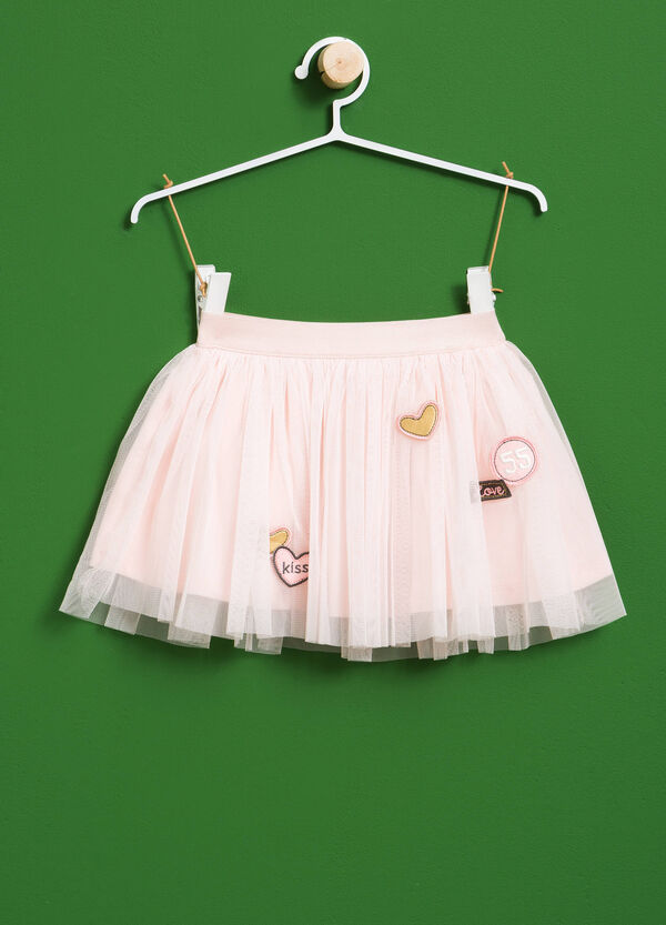 Solid colour tulle skirt with patches | OVS